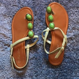 Shoes - Green strapped flip flops